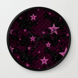 Pink Neon Stars Wall Clock