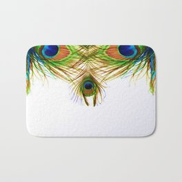 GORGEOUS BLUE-GREEN PEACOCK FEATHERS ART Bath Mat