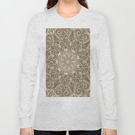 Beige swirl mandala Long Sleeve T-shirt