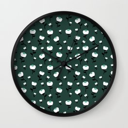 Paper cut cotton boll flowers fall bloom green teal Wall Clock