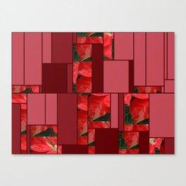 Mottled Red Poinsettia 1 Ephemeral Art Rectangles 8 Canvas Print