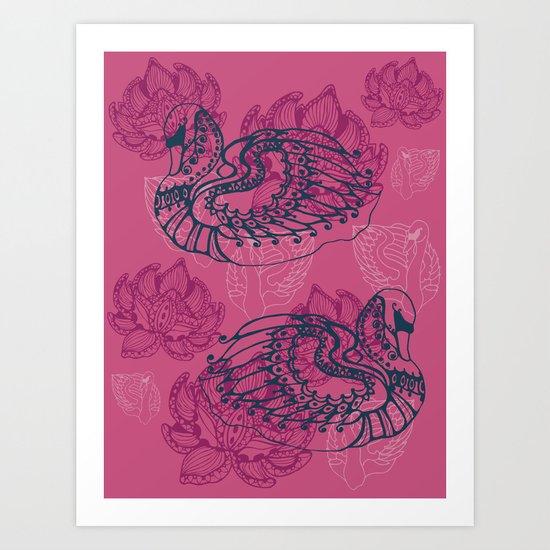 Hamsa, the swan Art Print