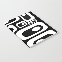 Atomic Age Pod Pattern in Black and White. Minimalist Monochrome Notebook