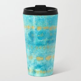 Gold in Deep Turquoise watercolor art Travel Mug