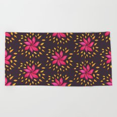 Whimsical Watercolor Floral Pattern In Pink And Purple Beach Towel