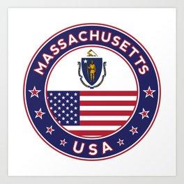 Massachusetts, Massachusetts t-shirt, Massachusetts sticker, circle, Massachusetts flag, white bg Art Print