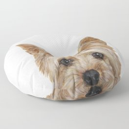 Yorkshire 2 Dog illustration original painting print Floor Pillow