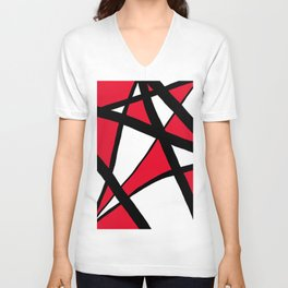 Apple Red Geometric Star Abstract Unisex V-Neck