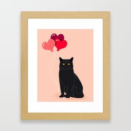 Black Cat Love balloons valentine gifts for cat lady cat people gifts ideas funny cat themed gifts Framed Art Print