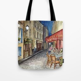 Postcards from Paris - Montmartre by Night: Le Tire-Bouchon Creperie Tote Bag