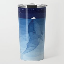 Whale blue ocean Travel Mug