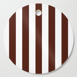 French puce brown - solid color - white vertical lines pattern Cutting Board