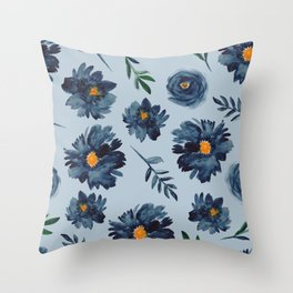 Watercolor Flower Pattern - Classic Blue - Indigo Throw Pillow