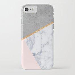 Marble Blush Gold gray Geometric iPhone Case