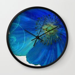 Poppy Blues I Wall Clock
