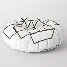 minimal geometric  hypercube line art  Floor Pillow