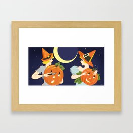 Vintage Halloween Costume Party Pumpkin Carving Framed Art Print