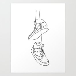 Sneakers simple minimal one line art, hanging shoes branded shoes  Art Print