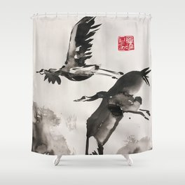 couple in flight Shower Curtain