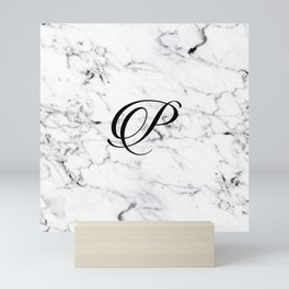 Letter P on Marble texture Initial personalized monogram Mini Art Print