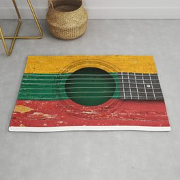 Old Vintage Acoustic Guitar with Lithuanian Flag Rug