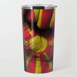 Macedonian Flag on a Raised Clenched Fist Travel Mug