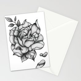 Black and Grey Rose Stationery Cards