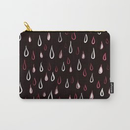 Dark White And Red Raindrops Pattern Carry-All Pouch