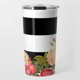 Black and White Stripe with Floral Travel Mug