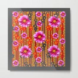 Purple Dahlias on Red & Orange Pattern Art Metal Print