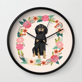 coonhound dog floral wreath dog gifts pet portraits Wall Clock