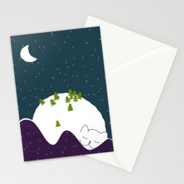 Cozy Christmas  Mountain Landscape Sleeping Cat Stationery Cards