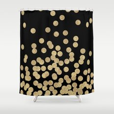 Gold glitter dots scattered on black background Shower Curtain