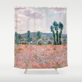 Poppy Field in Giverny by Claude Monet Shower Curtain