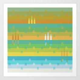 Sunset Fields Pattern Art Print