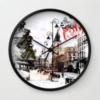 poland Wall Clocks featuring Poland - Krawkowskie Przedmiescie, Warsaw by viva la revolucion