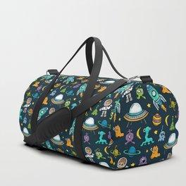 Deep Space, Night Sky, Rocket Ship, UFO, Space Alien, Astronaut, Outer Space Duffle Bag