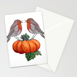 Robins and pumpkin watercolor art Stationery Cards
