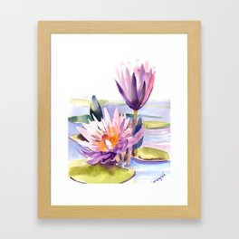 Water Lily,  Lotus, Asian Ink drawing Zen brush pink purple flower Framed Art Print