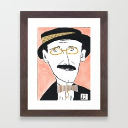 James Joyce with a Hat and Glasses Framed Art Print