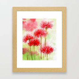 Watercolor Painting-Red Flowers Framed Art Print