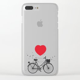 seamless pattern black bike and red heart on white background. Vector illustration Clear iPhone Case