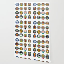 Set of animals faces circle icons set in Trendy Flat Style. zoo Wallpaper