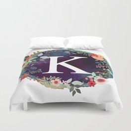 Personalized Monogram Initial Letter K Floral Wreath Artwork Duvet Cover