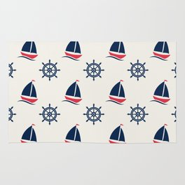 Blue Sea Ship Pattern Rug