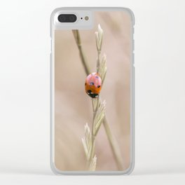 Ladybug in the grass Clear iPhone Case