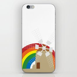 Windmill at a rainbow background iPhone Skin