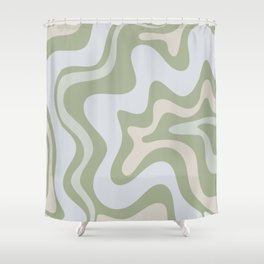 Liquid Swirl Contemporary Abstract Pattern in Light Sage Green Shower Curtain