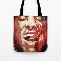 american psycho Tote Bags featuring Psycho by Earl of Grey