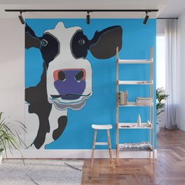 Cow in the Blue Sky Wall Mural